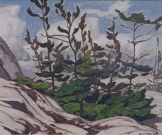 Casson - Jack Pine Picnic Island McGregor Bay x Oil on board Group Of Seven Artists, Various Artists, Canadian Painters, Canadian Artists, Franklin Carmichael, Tom Thomson Paintings, Emily Carr, Nature Paintings, Abstract Landscape