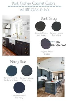 The best navy blue and dark gray Benjamin Moore colors for kitchen cabinets