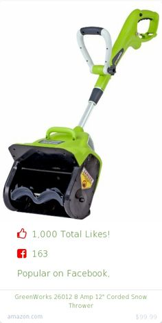 Top christmas gift on Facebook.  Top christmas gift on undefined 1000 people likes on Internet. 163 facebook likes. 837 thumbs-up on .undefined greenworks amazon christmas gift. greenworks 26012 8 amp 12%22 corded snow thrower from amazon christmas gifts. http://www.MostLikedGifts.com/top-popular-christmas-gifts/amazom-christmas-gift-B00KAPCAZ8-greenworks-26012-8-amp-12%22-corded-snow-thrower