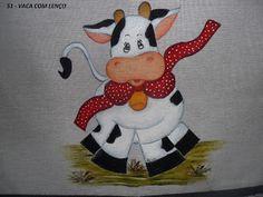 Aline - Pintura em Tecido: Vaca Com Lenço