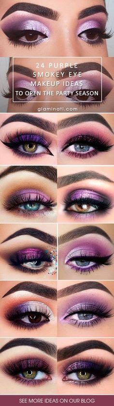 30 Purple Smokey Eye Makeup Ideas to Open the Party Season - Idées de maquillage Purple Smokey Eye, Smokey Eyes, Purple Eye Makeup, Smokey Eye Makeup, Dramatic Wedding Makeup, Wedding Makeup Tips, Lila Palette, Lila Make-up, Catwalk Makeup