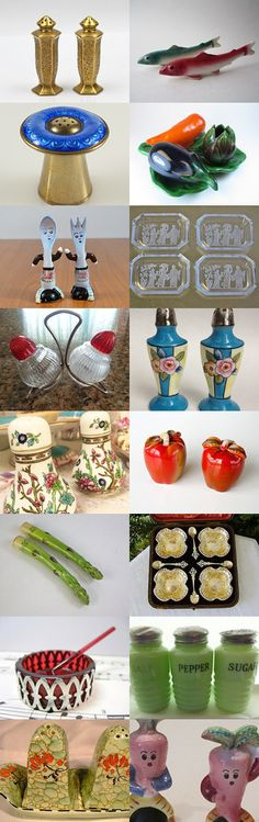 Please Pass the Salt and Pepper #voguet.  An elegant and fun collection of salt and pepper shakers and cellars from the Vintage Vogue team, influenced by the shop of the day, PeriodElegance! Curator: Karen Marlette from https://www.etsy.com/shop/HauteVintageJewels?ref=pr_shop_more