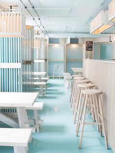 Mikkeller & Friends is a new bar and one-stop-shop for beer lovers and design enthusiasts in Copenhagen. Cafe Interior, Interior And Exterior, Interior Design, Interior Ideas, Deco Restaurant, Restaurant Design, Society Restaurant, Commercial Design, Commercial Interiors