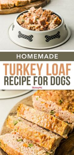 Make this homemade turkey loaf for dogs to know exactly what your best pal is eating! It's a dog food recipe made with high-quality ingredients and no additives. Dog Biscuit Recipes, Dog Treat Recipes, Healthy Dog Treats, Dog Food Recipes, Doggie Treats, Chicken Rice Dog Food Recipe, Turkey Dog Food Recipe, Healthy Pets, Dog Chews