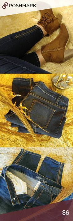 Zipper Ankle Jeans Ankle Jeans. Zippers at ankles. Dark wash. Faded Glory brand. Size 12. Hardly worn! Slight stretch- so they fit well. These are a must for any outfit, summer or winter! Bundle and save!!!!! 30% off 3 + items!! Faded Glory Jeans