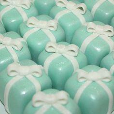 Tiffany box cake bites. Beautiful party favors!  #opopsbyangie