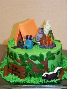 Forest camping cake