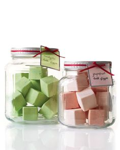 Bath Fizzies Mix 1/2C citricd acid, 1C baaking soda 3/4C cornstarch. Sift. Add 1/4C epsom salt. Fill spray bottle w/ water 6 drps food colouring. Spritz mix lightly unti U can pack with hands. Add 10-15 drops essential oil 1 drp at time. Spritz when necessary. work in til all 1 colour. Spoon into silicone ice cube tray pressing firmly. Overnight at room temp