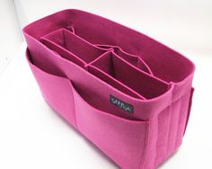 Hot pink felt bag organizer - large size (W H D ), also for a school / baby bag, desk, car & etc. Nurse Bag, Nursing Supplies, Felt Purse, Purse Organization, Felt Crafts, Bag Making, Pretty In Pink, Purses And Bags, Hot Pink