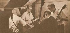 The Kingston Trio backstage Nick Reynolds, Bob Shane, Dave Guard and David Buck Wheat. (1959)