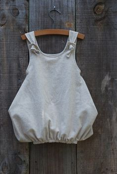 Girl's Bubble Dress Top Knotted with Angel Wings in Oatmeal linen/flannel - Size 3T (other sizes available). $42.50, via Etsy.