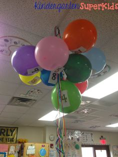Balloon Countdown to celebrate the last 10 days of school!  Each balloon contains a surprise for the students inside... class picnic, silly string party, sock day, etc.  The students get to pop a balloon each day during the countdown and enjoy the surprise!  :)