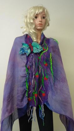 Shawl,Violet , Fairy, Nuno felted, Handmade, in USA, Felted art, Wearable art, Organic, Fashion accessory, Women top, Fiber art, Artistic by rafaelart on Etsy