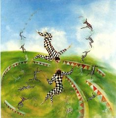 "MICHAEL GLEIZER, ""Acrobats,"" Oil on Canvas, 48"" x 48"""
