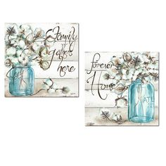 Beautiful Watercolor-Style Family Gathers Here and Forever Home Mason Jar Floral Set by TRE Sorelle Studios; Two Unframed Paper Posters. Home Wall Art, Wall Art Decor, Canvas Wall Art, Wall Art Prints, Farmhouse Wall Art, Farmhouse Decor, Wash And Fold, Primitive Painting, Jar Art