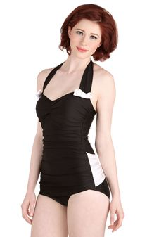 Tread All Over One-Piece Swimsuit. Whats black and white and the most beautiful thing at water aerobics? #black #modcloth