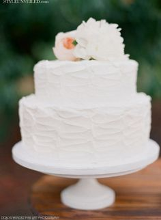 White Wedding Cake with Peach Cabbage Rose Detail