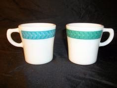 Set of Vintage Pyrex Milk Glass Mugs, Cups with Acqua Band. by Cherylfound on Etsy https://www.etsy.com/listing/111925506/set-of-vintage-pyrex-milk-glass-mugs
