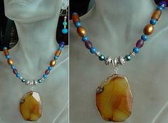 Multicolor Necklace c/w Brown Honey Color Agate by camexinc, $55.00