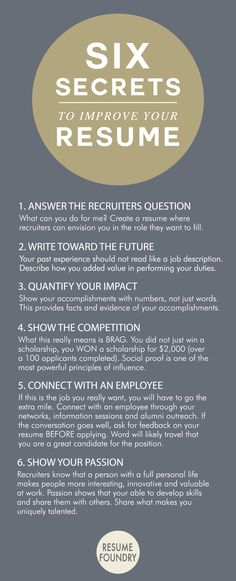 Six amazing secrets to improve your resume.