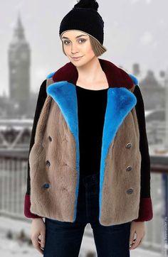 Верхняя одежда ручной работы. Ярмарка Мастеров - ручная работа. Купить Шуба куртка норковая цветная комбинированная. Handmade. Комбинированный
