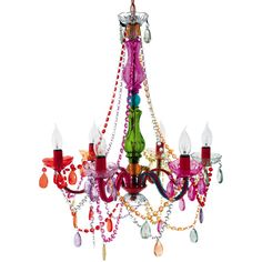 "Gypsy Chandelier Multicolored - $65.00 (small, 14"" x 11"") One of our bestsellers, the Gypsy Chandelier adds a touch of outrageous baroque class to any interior. A delightful mixture of decoration, beading and elegantly positioned lamps, the Gypsy Chandelier is ideal for those who want to make a dramatic statement in their interior spaces."