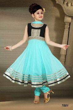 Gorgeous Sea Blue / Black Anarkali Suit for kids