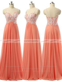 Vanessawu — Sunset Prom Dresses, Empire Prom Dress with White Lace Applique, Prom Dress with Straps, #020101831