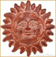 Photo about Terra cotta sun face isolated on white. Image of sunny, ethnic, pottery - 7363551 Pasta Piedra, Outside Decorations, Fence Art, Terracota, Clay Design, Glazed Ceramic, Hanging Art, Pottery, Ceramics