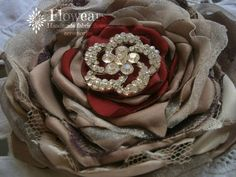 Bridal fabric flower in chocolate and red Wedding by Flowears, $20.00