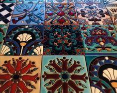 Tile Stickers Vinyl Decal for backsplash Bath Kitchen Floor Waterproof Removable: Mexican Talavera Cool Stuff, Tile Decals, Vinyl Decals, 3d Design, Waterline Pool Tile, Styrofoam Ceiling Tiles, Wall Waterproofing, Tile Stickers Kitchen, Floor Decal
