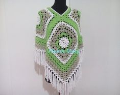 Green poncho Gray White Cotton Summer poncho crochet women clothes bohemian style hippie clothes Boho Handmade clothes on etsy Crochet Poncho, Crochet Lace, Irish Crochet, Crochet Summer, Hand Crochet, Crochet Granny, Granny Square Poncho, Granny Squares, Big Granny