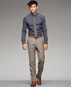 Bar III Floral-Print Dress Shirt & Trousers. I could definitely replicate this style.