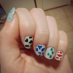 Super messy, but went with ores for tomorrow's nail art... #minecon