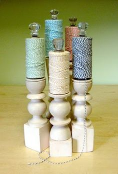 Twine holders from finials and drawer pulls