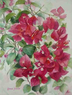 Bougainvillea, Beautiful Paintings Of Flowers, Chinese Painting Flowers, Plant Painting, Mural Painting, Watercolor Paintings, Watercolor Flowers Tutorial, Floral Watercolor, Botanical Flowers