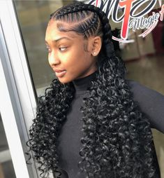 Two Big Cornrows Sew In Hairstyles Pinterest Braids