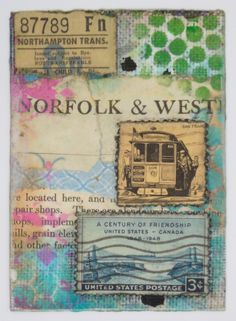 """Original train or railway themed artist card, entitled """"Train"""". This collaged card was made with various vintage and modern ephemera, postage stamps, ink, stencils, acrylic paint, on a watercolor paper/sticky back canvas base. Signed and dated on the back by the artist (hey, that's me!).  Card ..."""