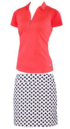 Spring is on its way so be sure to check all of the new collections at Lori's Golf Shoppe. Beat the rush with 4all by JoFit Ladies Golf Outfits (Shirt & Skort) - Oasis (Coral Glow, Navy & White)