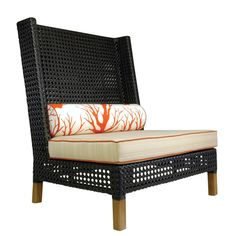 The Rhinebeck Highback Lounge Chair, Teak & Resin Weave from Walters Wicker Exterior Collection.