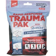 The Adventure Medical Kits Rapid Response Trauma Pak Medical Kit with QuikClot Bleeding Sponge was designed to stop bleeding and control serious injuries. The kit is waterproof and is small enough to fit in any pocket.