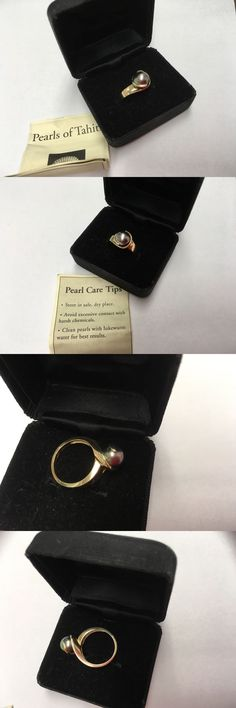 Pearl 11021: 14K Yellow Gold Tahitian 9Mm Black Pearl Diamond Modern Abstract Ring Mib -> BUY IT NOW ONLY: $224.5 on eBay!