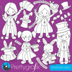 80 OFF SALE Magician Girls Digital Stamp Commercial Use Black Lines Vector Graphics