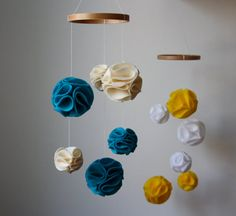 Pom Pom Mobile  Yellow and White  Modern Baby by littlenestbox, $37.95
