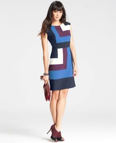 Geometric Colorblocked Sheath Dress
