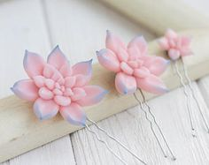 Check out Pink Blue Succulent Hair Pins Hairpin Set Polymer Clay Bobby Pins Hair Decoration Accessory Women Handmade Decoration Wedding Bridal Hair on eteniren