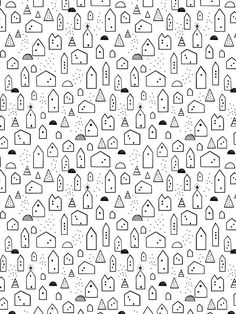 Free Download - little house wrapping paper scandinavian