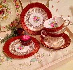 Gorgeous Teacup Trio made by Gladstone China. by VerasTreasures Shabby Chic Christmas, Gladstone, Red Band, Gold Pattern, Vintage China, High Tea, Teacup, Flower Designs, Tea Party
