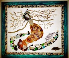 Karen Blackford, mosaic made from shells collected after the storm.