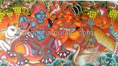 Mayoogha Mural Painting arts gallery is online art gallery-Guruvayoor is an innovative initiative by Mural artist Sastrasarman Prasad. Mural Art, Murals, Kerala Mural Painting, Gods And Goddesses, Traditional Art, Online Art Gallery, Canvas Art, Wall Decor, Colours